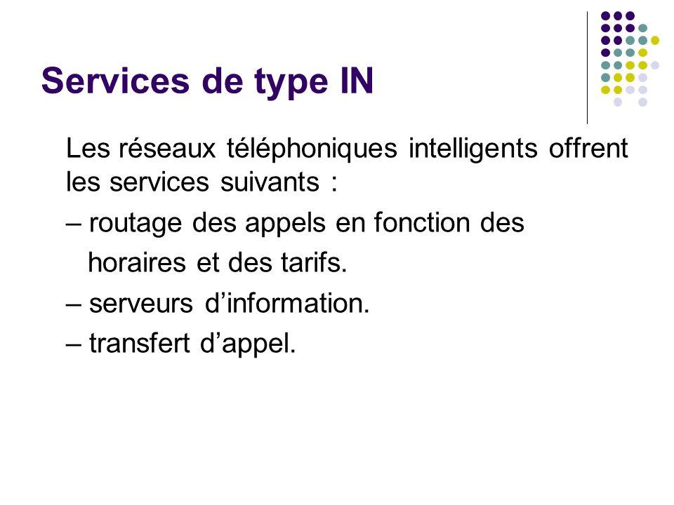 Services de type IN Les réseaux téléphoniques intelligents offrent les services suivants : – routage des appels en fonction des horaires et des tarifs