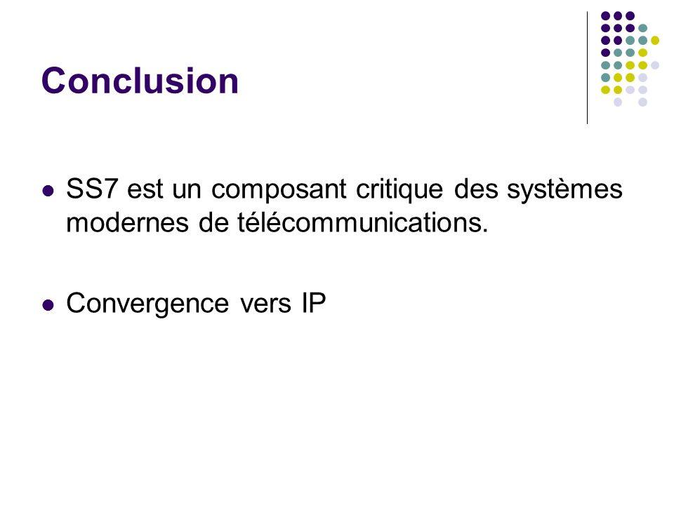 Conclusion SS7 est un composant critique des systèmes modernes de télécommunications. Convergence vers IP