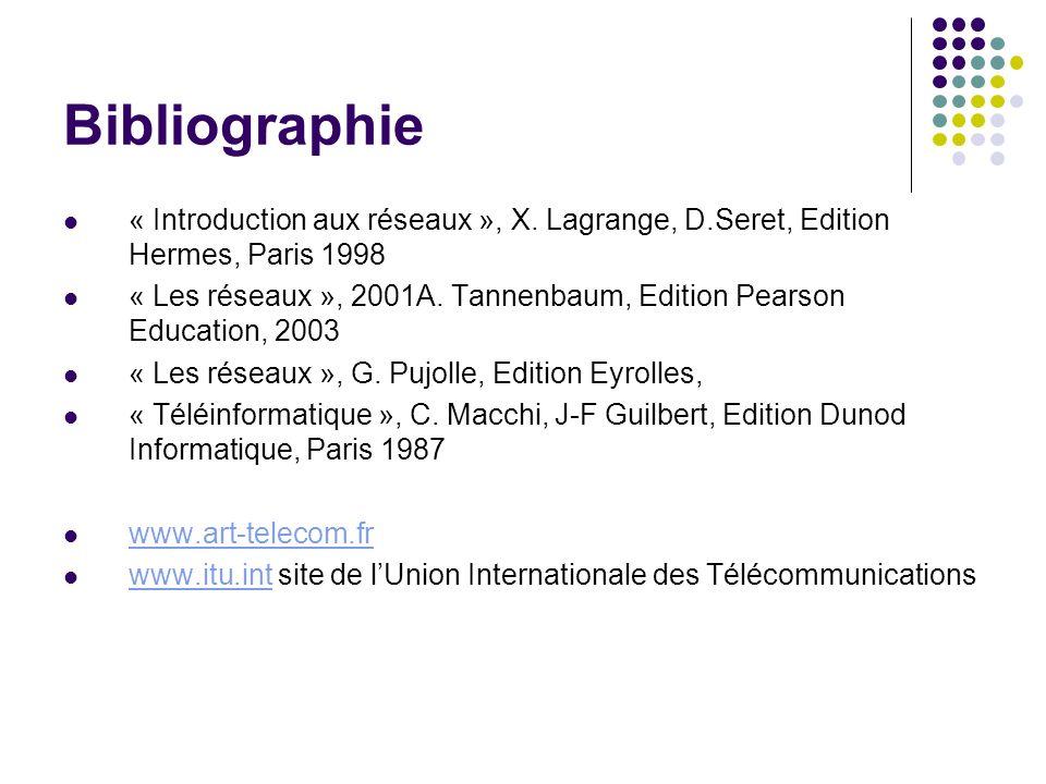 Bibliographie « Introduction aux réseaux », X. Lagrange, D.Seret, Edition Hermes, Paris 1998 « Les réseaux », 2001A. Tannenbaum, Edition Pearson Educa