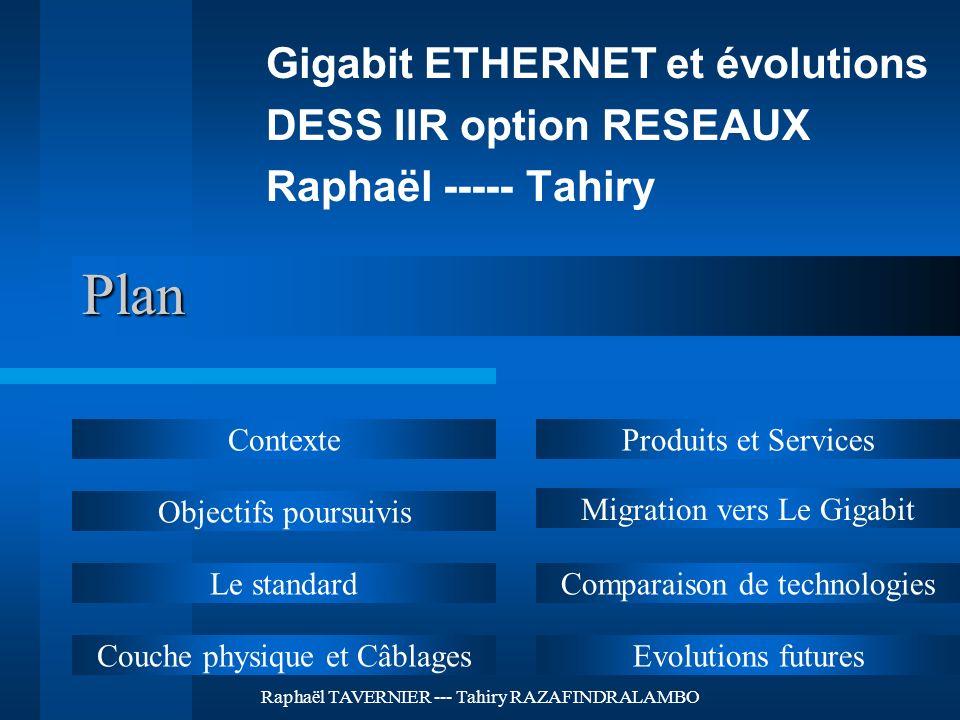 Raphaël TAVERNIER --- Tahiry RAZAFINDRALAMBO Plan Gigabit ETHERNET et évolutions DESS IIR option RESEAUX Raphaël ----- Tahiry Contexte Objectifs pours