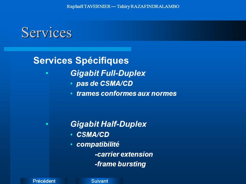 SuivantPrécédent Raphaël TAVERNIER --- Tahiry RAZAFINDRALAMBOServices Services Spécifiques Gigabit Full-Duplex pas de CSMA/CD trames conformes aux nor