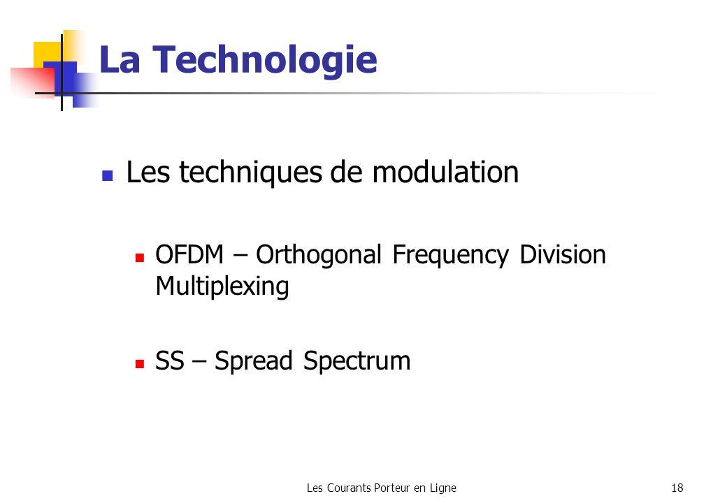 Les Courants Porteur en Ligne18 La Technologie Les techniques de modulation OFDM – Orthogonal Frequency Division Multiplexing SS – Spread Spectrum