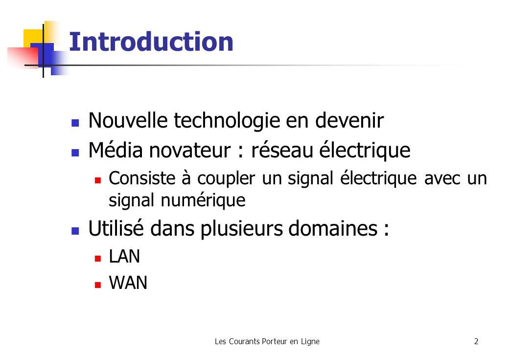 Les Courants Porteur en Ligne2 Introduction Nouvelle technologie en devenir Média novateur : réseau électrique Consiste à coupler un signal électrique