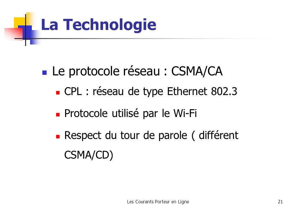 Les Courants Porteur en Ligne21 La Technologie Le protocole réseau : CSMA/CA CPL : réseau de type Ethernet 802.3 Protocole utilisé par le Wi-Fi Respec