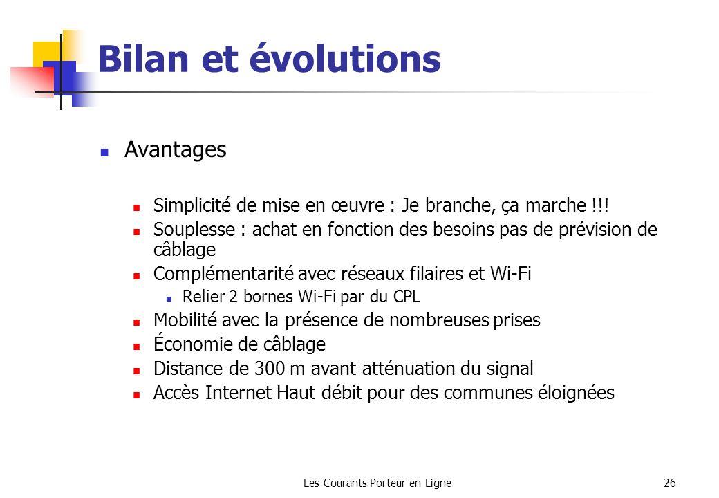 Les Courants Porteur en Ligne26 Bilan et évolutions Avantages Simplicité de mise en œuvre : Je branche, ça marche !!! Souplesse : achat en fonction de