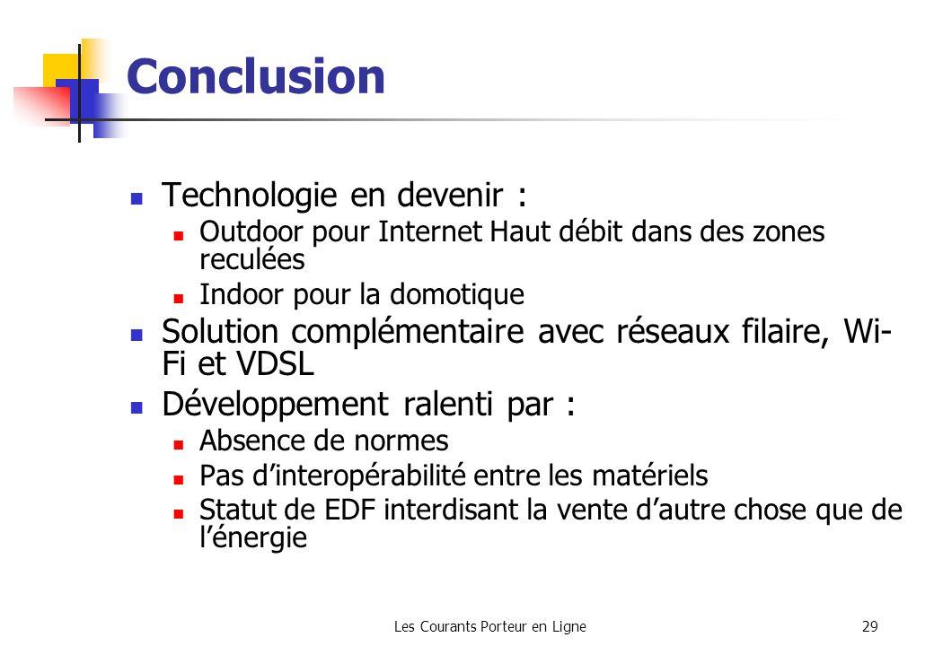 Les Courants Porteur en Ligne29 Conclusion Technologie en devenir : Outdoor pour Internet Haut débit dans des zones reculées Indoor pour la domotique