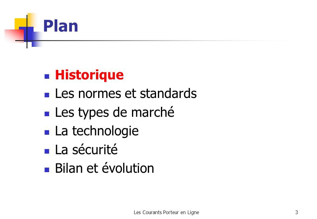 Les Courants Porteur en Ligne3 Plan Historique Les normes et standards Les types de marché La technologie La sécurité Bilan et évolution
