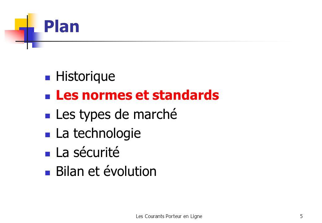 Les Courants Porteur en Ligne5 Plan Historique Les normes et standards Les types de marché La technologie La sécurité Bilan et évolution