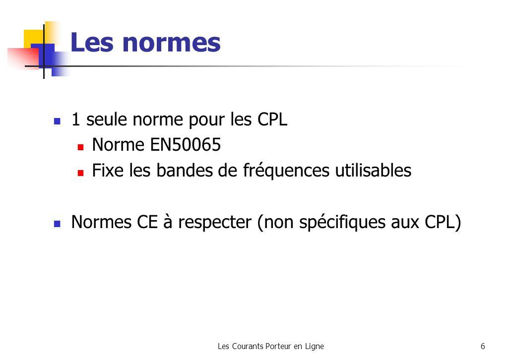 Les Courants Porteur en Ligne6 Les normes 1 seule norme pour les CPL Norme EN50065 Fixe les bandes de fréquences utilisables Normes CE à respecter (no