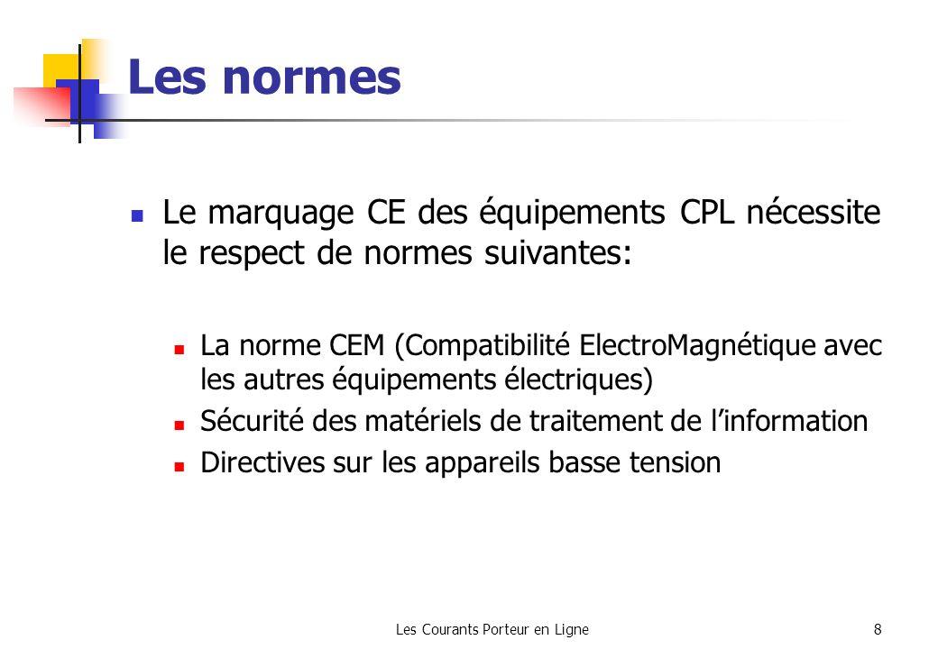 Les Courants Porteur en Ligne8 Les normes Le marquage CE des équipements CPL nécessite le respect de normes suivantes: La norme CEM (Compatibilité Ele