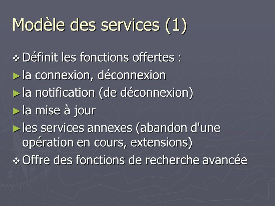 Modèle des services (1) Définit les fonctions offertes : Définit les fonctions offertes : la connexion, déconnexion la connexion, déconnexion la notif