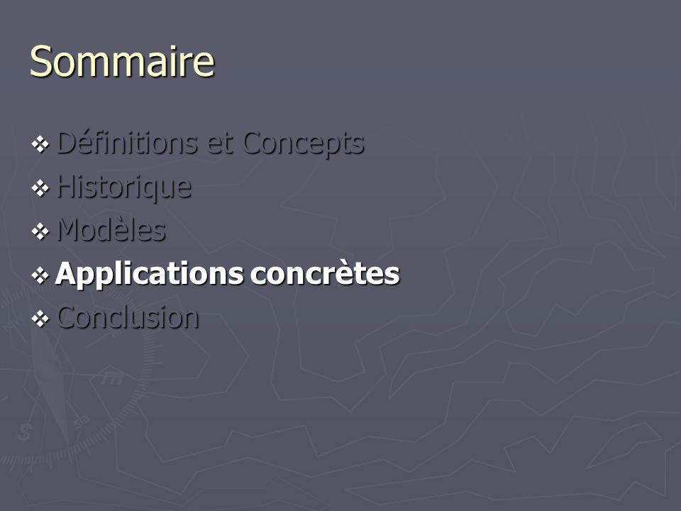 Sommaire Définitions et Concepts Définitions et Concepts Historique Historique Modèles Modèles Applications concrètes Applications concrètes Conclusio