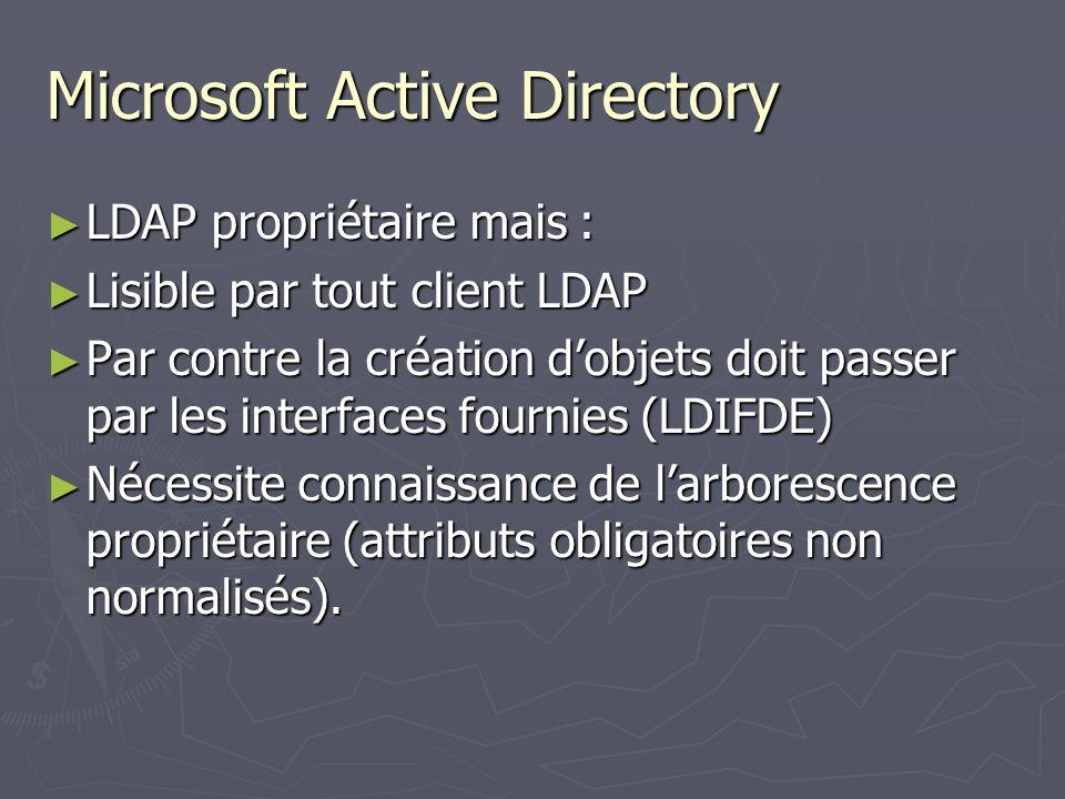 Microsoft Active Directory LDAP propriétaire mais : LDAP propriétaire mais : Lisible par tout client LDAP Lisible par tout client LDAP Par contre la c