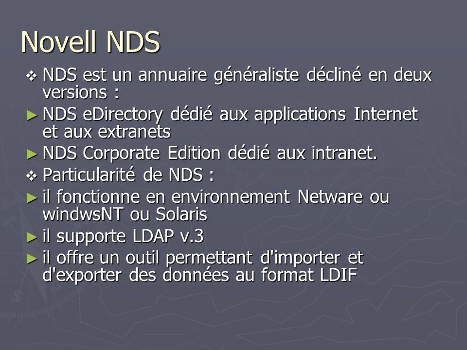 Novell NDS NDS est un annuaire généraliste décliné en deux versions : NDS est un annuaire généraliste décliné en deux versions : NDS eDirectory dédié