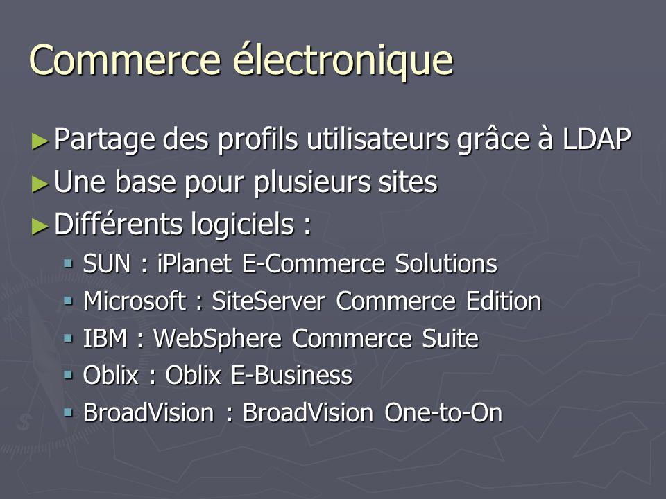 Commerce électronique Partage des profils utilisateurs grâce à LDAP Partage des profils utilisateurs grâce à LDAP Une base pour plusieurs sites Une ba