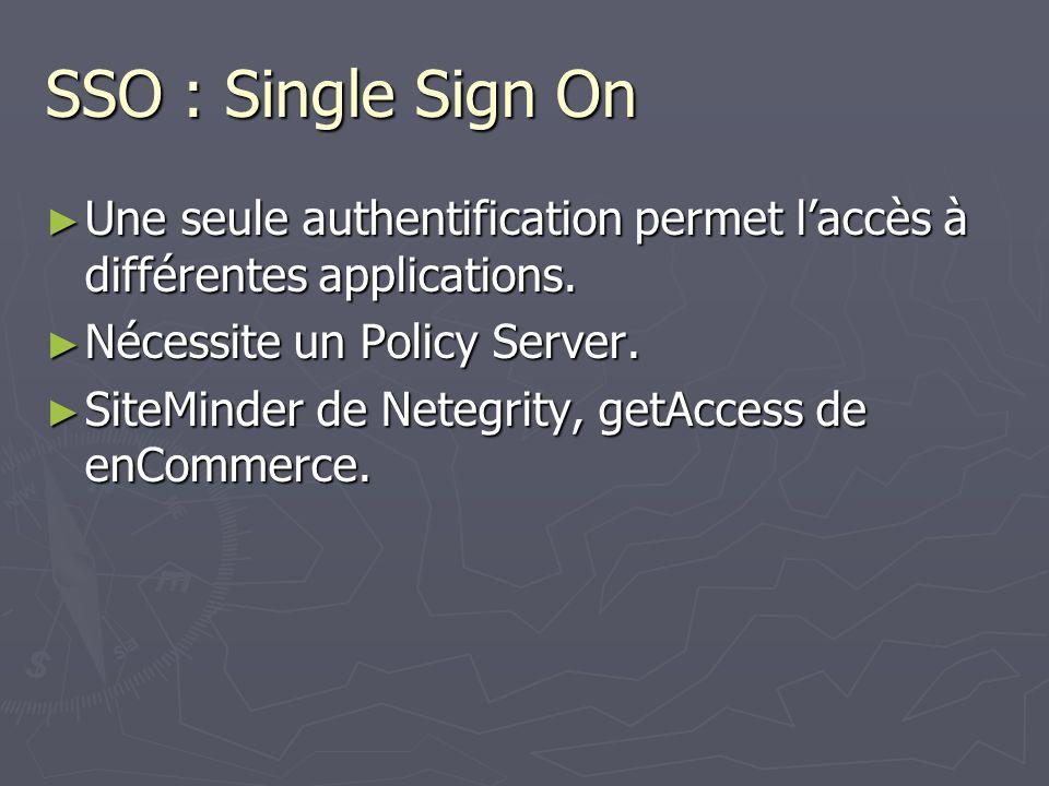 SSO : Single Sign On Une seule authentification permet laccès à différentes applications. Une seule authentification permet laccès à différentes appli