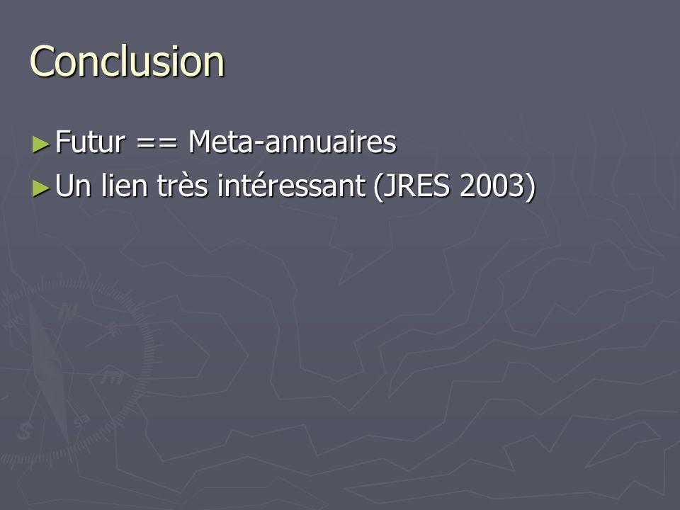 Conclusion Futur == Meta-annuaires Futur == Meta-annuaires Un lien très intéressant (JRES 2003) Un lien très intéressant (JRES 2003)