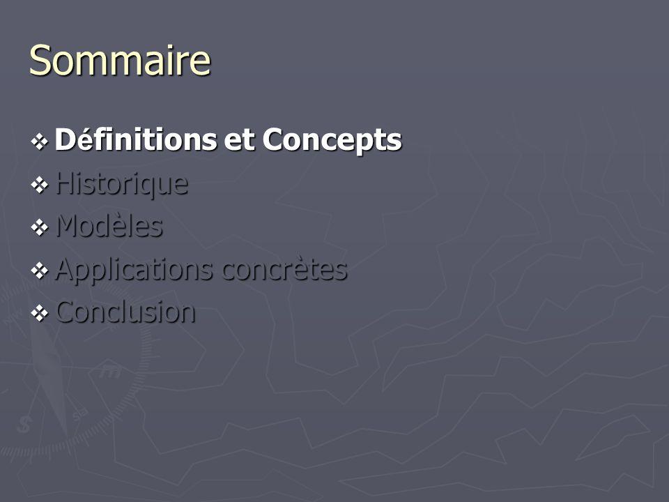 Sommaire D é finitions et Concepts D é finitions et Concepts Historique Historique Modèles Modèles Applications concrètes Applications concrètes Concl