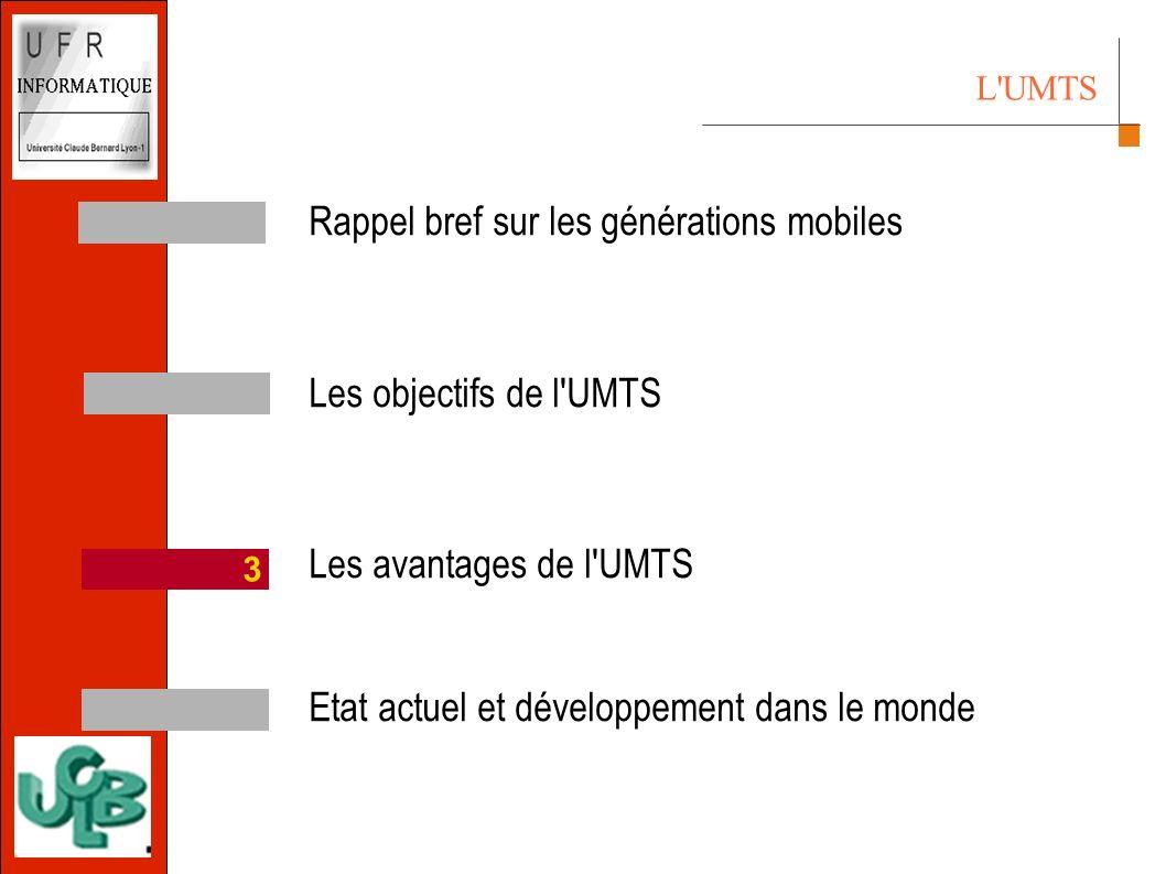L UMTS Rappel bref sur les générations mobiles Les objectifs de l UMTS Les avantages de l UMTS Etat actuel et développement dans le monde 3