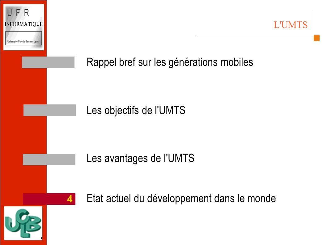 Rappel bref sur les générations mobiles Les objectifs de l UMTS Les avantages de l UMTS Etat actuel du développement dans le monde 4 L UMTS