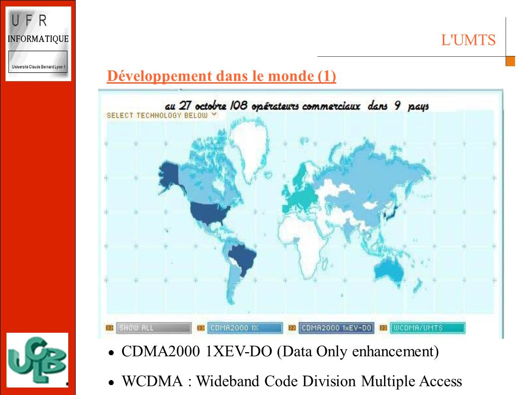 Développement dans le monde (1) CDMA2000 1XEV-DO (Data Only enhancement) WCDMA : Wideband Code Division Multiple Access