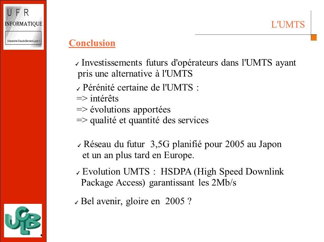 L UMTS Conclusion Pérénité certaine de l UMTS : => intérêts => évolutions apportées => qualité et quantité des services Réseau du futur 3,5G planifié pour 2005 au Japon et un an plus tard en Europe.
