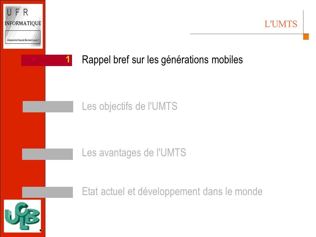 L UMTS 4 3 2 11 Rappel bref sur les générations mobiles Les objectifs de l UMTS Les avantages de l UMTS Etat actuel et développement dans le monde