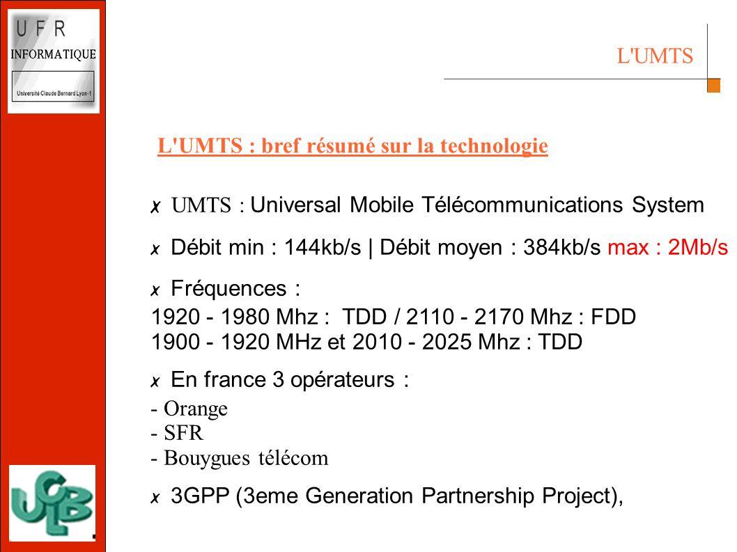 L UMTS UMTS : Universal Mobile Télécommunications System Débit min : 144kb/s | Débit moyen : 384kb/s max : 2Mb/s Fréquences : 1920 - 1980 Mhz : TDD / 2110 - 2170 Mhz : FDD 1900 - 1920 MHz et 2010 - 2025 Mhz : TDD En france 3 opérateurs : - Orange - SFR - Bouygues télécom 3GPP (3eme Generation Partnership Project), L UMTS : bref résumé sur la technologie