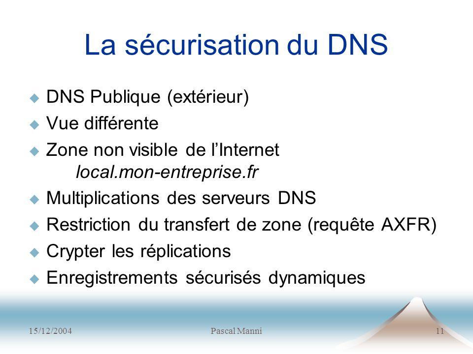 15/12/2004Pascal Manni11 La sécurisation du DNS DNS Publique (extérieur) Vue différente Zone non visible de lInternet local.mon-entreprise.fr Multipli