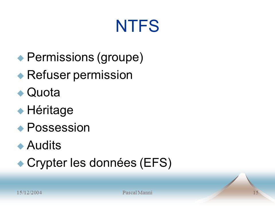 15/12/2004Pascal Manni15 NTFS Permissions (groupe) Refuser permission Quota Héritage Possession Audits Crypter les données (EFS)