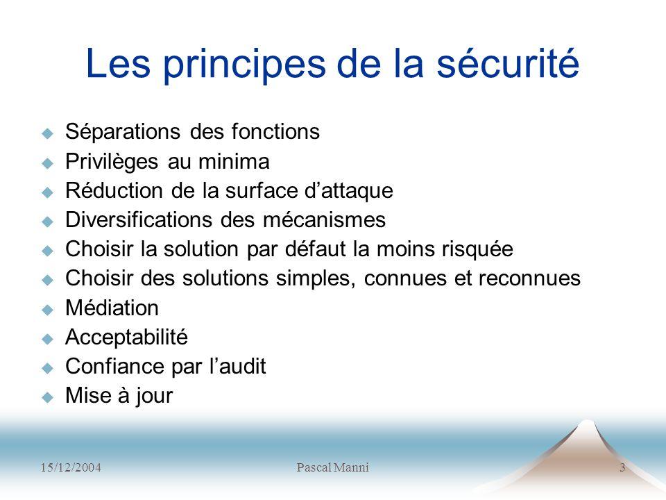 15/12/2004Pascal Manni3 Les principes de la sécurité Séparations des fonctions Privilèges au minima Réduction de la surface dattaque Diversifications