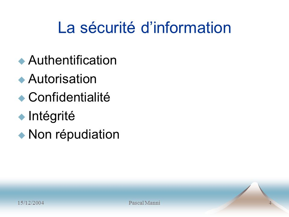 15/12/2004Pascal Manni4 La sécurité dinformation Authentification Autorisation Confidentialité Intégrité Non répudiation