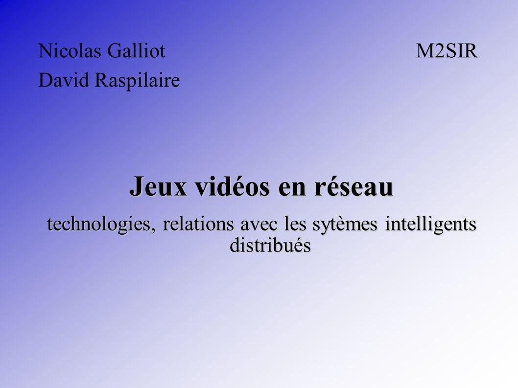 Nicolas Galliot M2SIR David Raspilaire Jeux vidéos en réseau technologies, relations avec les sytèmes intelligents distribués