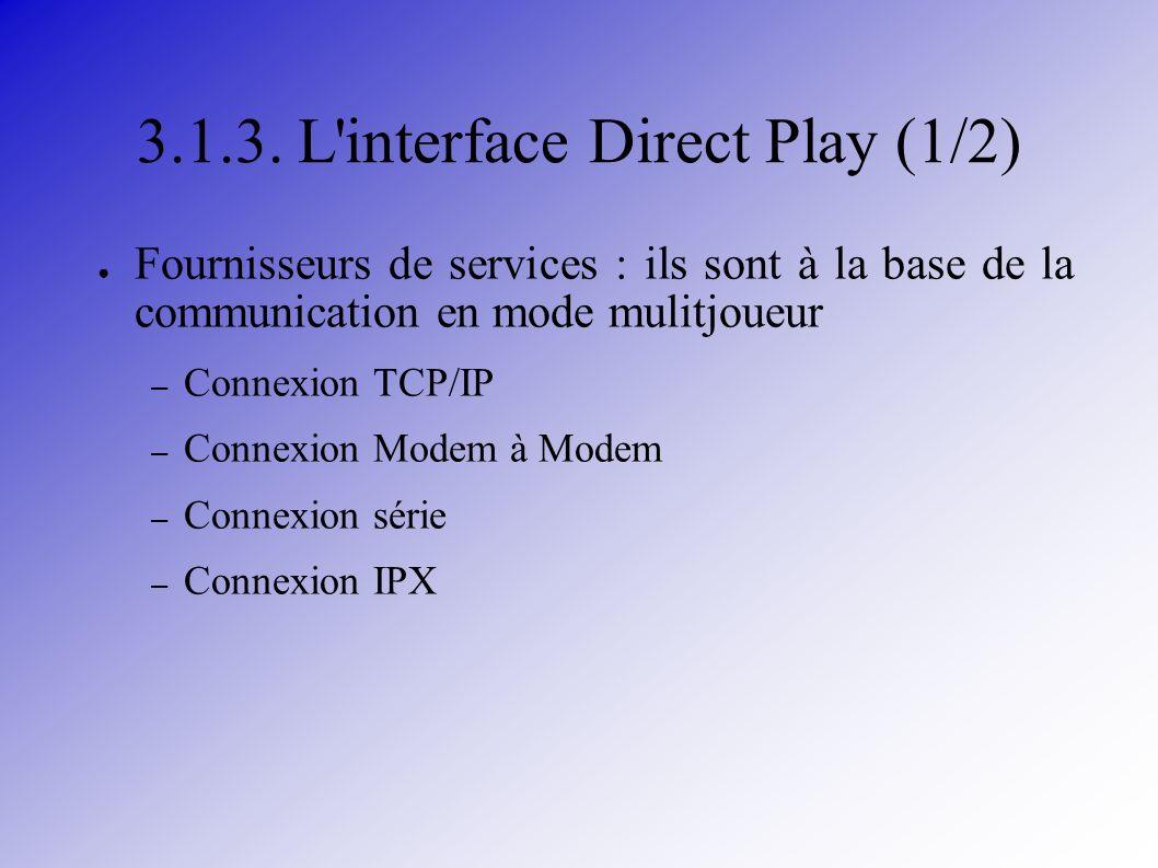 3.1.3. L'interface Direct Play (1/2) Fournisseurs de services : ils sont à la base de la communication en mode mulitjoueur – Connexion TCP/IP – Connex