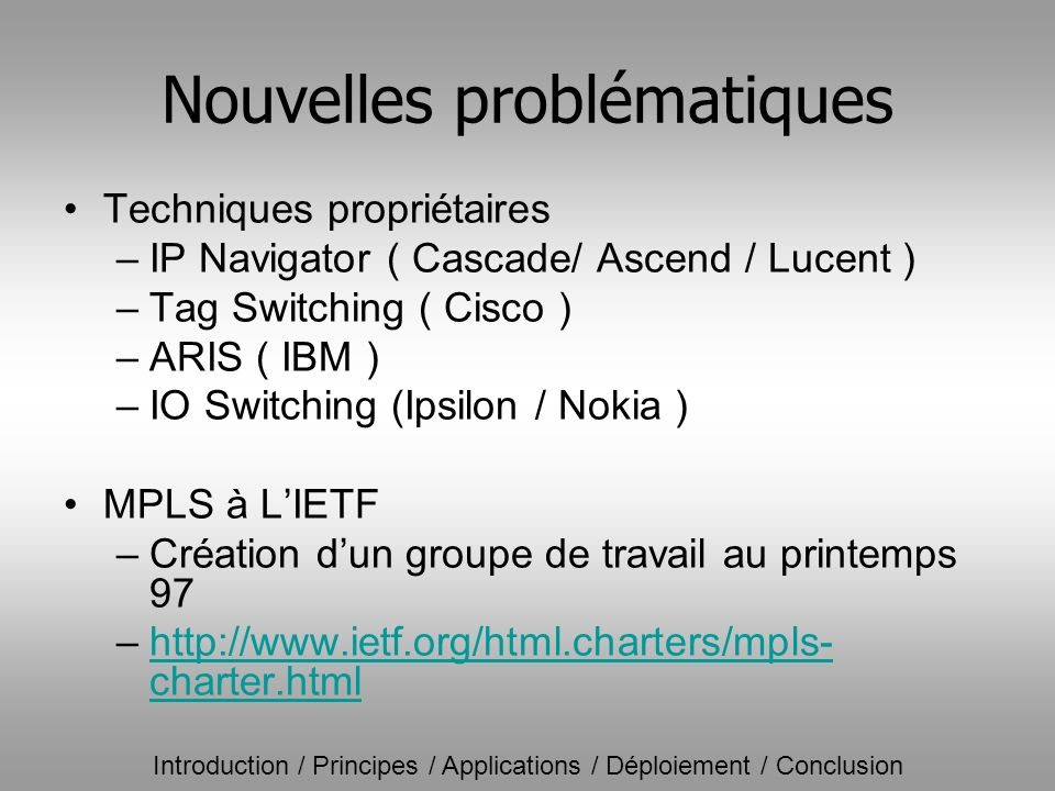 Introduction / Principes / Applications / Déploiement / Conclusion Nouvelles problématiques Techniques propriétaires –IP Navigator ( Cascade/ Ascend /