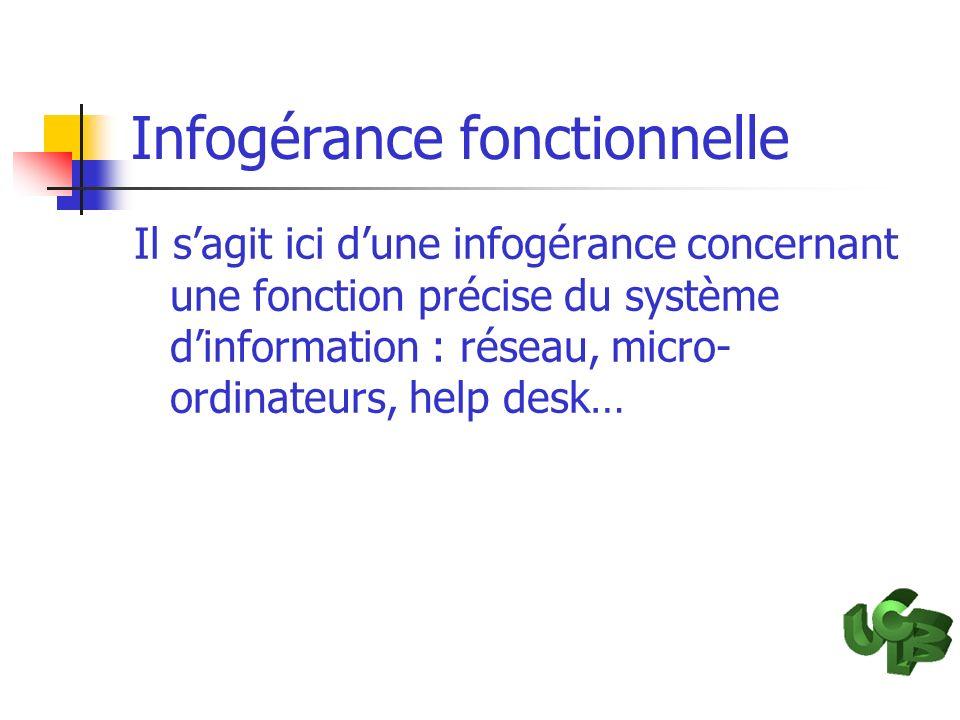 Infogérance fonctionnelle Il sagit ici dune infogérance concernant une fonction précise du système dinformation : réseau, micro- ordinateurs, help des