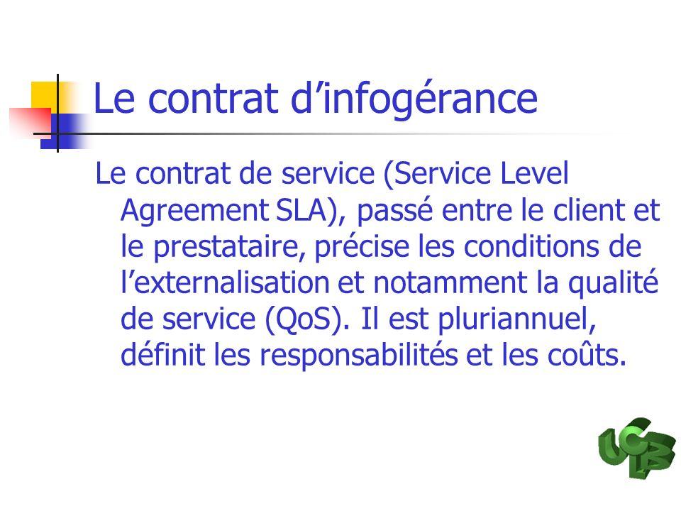 Le contrat dinfogérance Le contrat de service (Service Level Agreement SLA), passé entre le client et le prestataire, précise les conditions de lexter