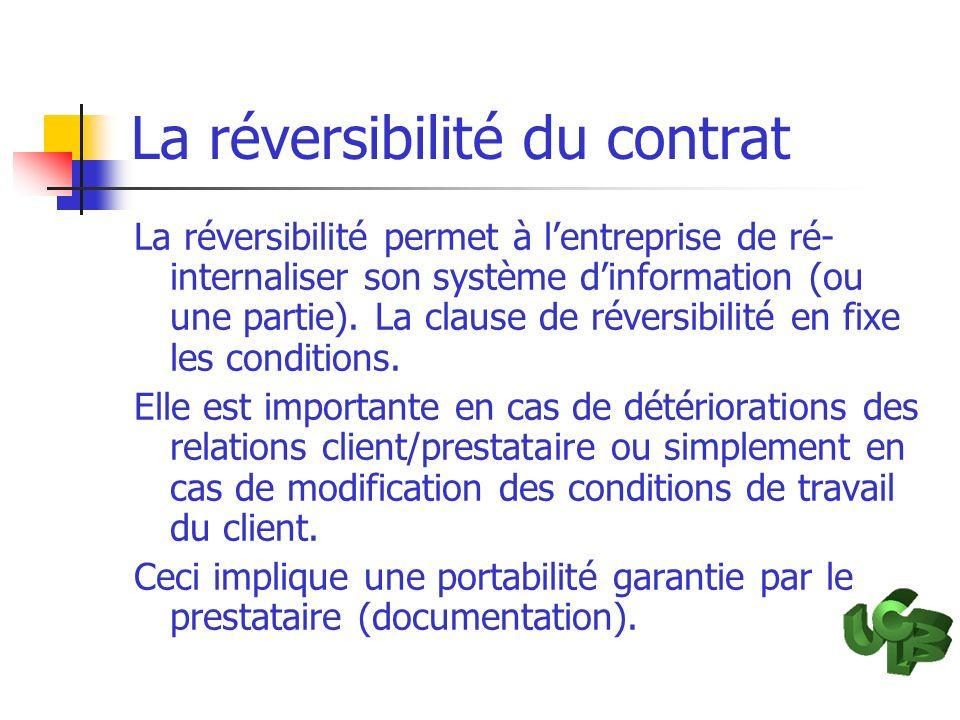 La réversibilité du contrat La réversibilité permet à lentreprise de ré- internaliser son système dinformation (ou une partie). La clause de réversibi