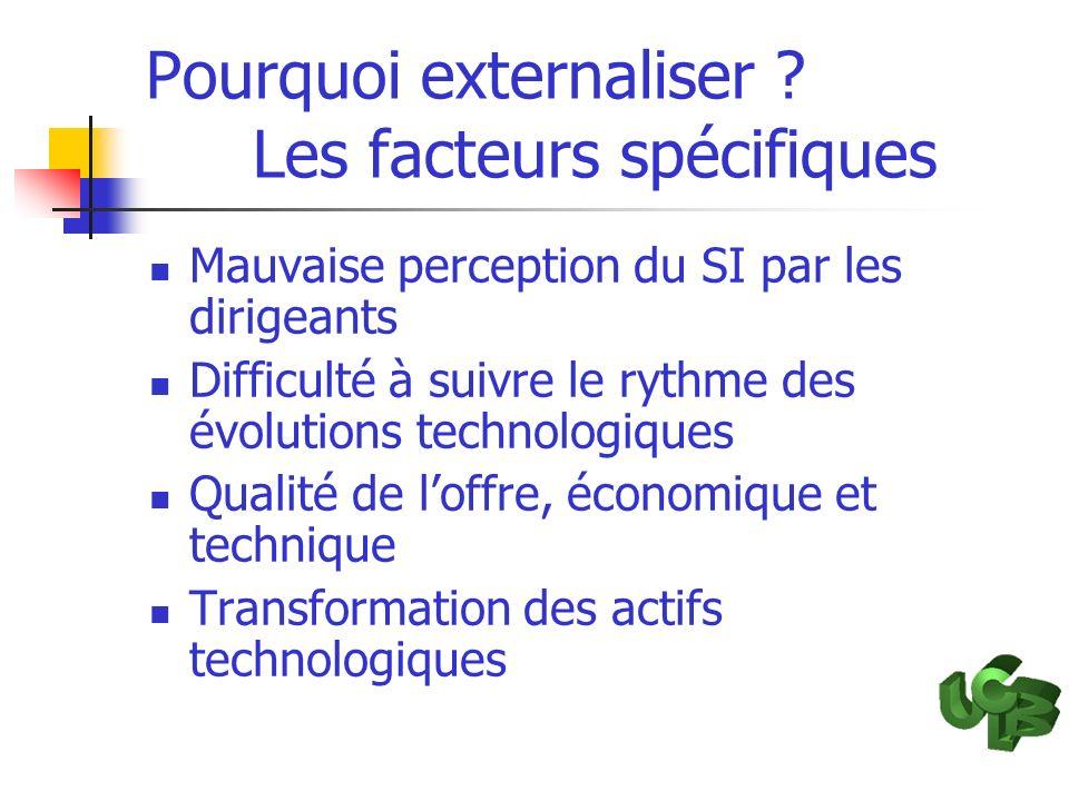 Pourquoi externaliser ? Les facteurs spécifiques Mauvaise perception du SI par les dirigeants Difficulté à suivre le rythme des évolutions technologiq