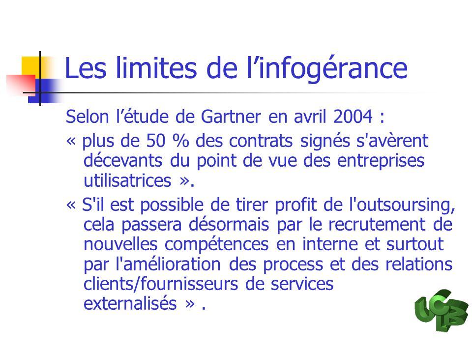 Les limites de linfogérance Selon létude de Gartner en avril 2004 : « plus de 50 % des contrats signés s'avèrent décevants du point de vue des entrepr