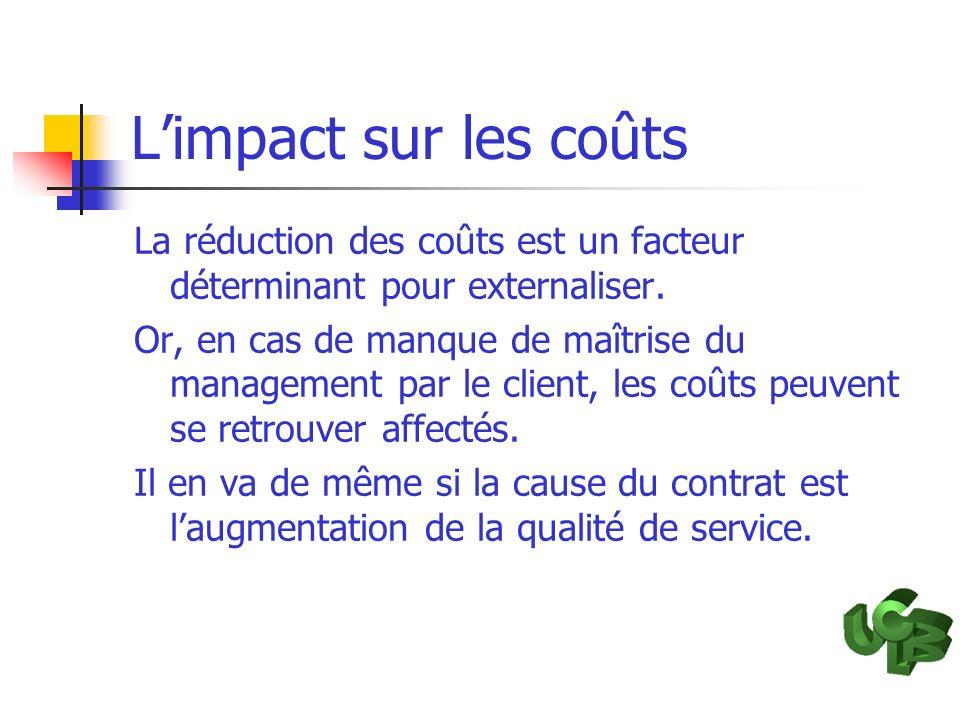Limpact sur les coûts La réduction des coûts est un facteur déterminant pour externaliser. Or, en cas de manque de maîtrise du management par le clien