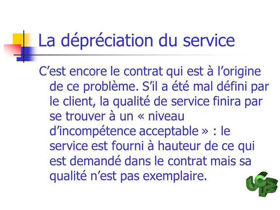 La dépréciation du service Cest encore le contrat qui est à lorigine de ce problème. Sil a été mal défini par le client, la qualité de service finira
