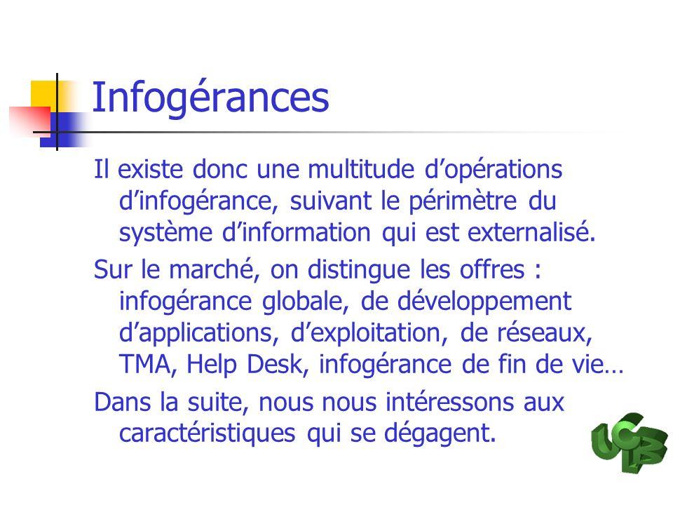 Infogérances Il existe donc une multitude dopérations dinfogérance, suivant le périmètre du système dinformation qui est externalisé. Sur le marché, o