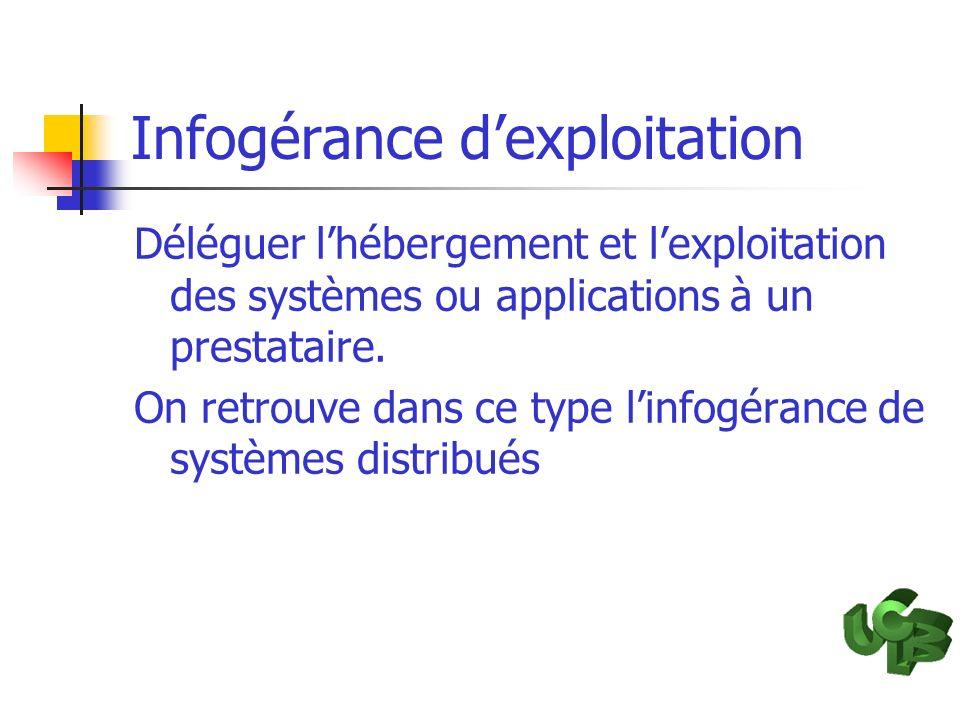 Infogérance dexploitation Déléguer lhébergement et lexploitation des systèmes ou applications à un prestataire. On retrouve dans ce type linfogérance