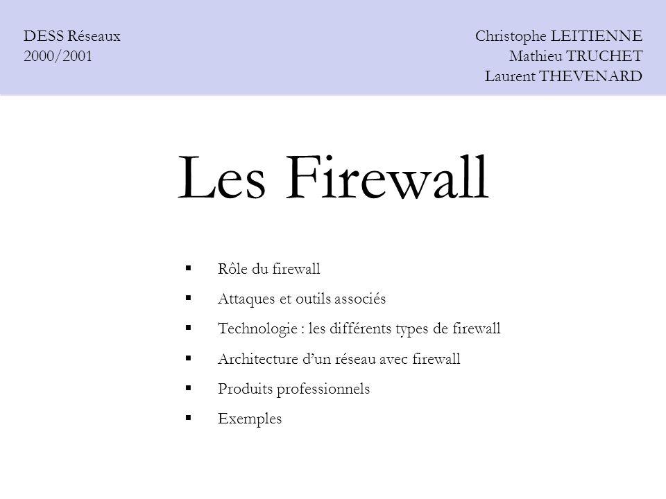 Les Firewall Christophe LEITIENNE Mathieu TRUCHET Laurent THEVENARD DESS Réseaux 2000/2001 Rôle du firewall Attaques et outils associés Technologie :