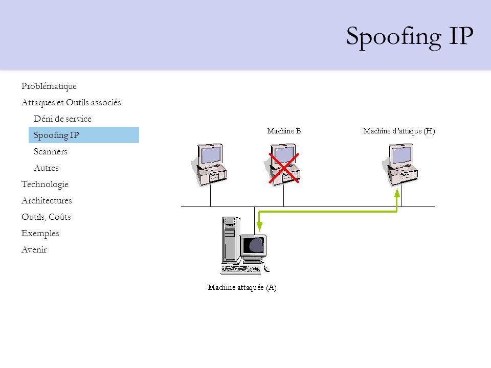 Les Scanners Fonctionnement des scanners 1.Localiser une machine sur un réseau 2.Détecter les services exécutés sur la machine 3.Détecter déventuelles failles Problématique Attaques et Outils associés Technologie Architectures Outils, Coûts Exemples Avenir Déni de service Spoofing IP Scanners Autres