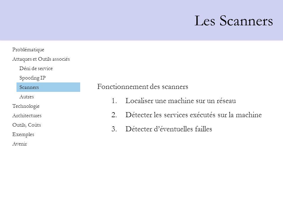 Les Scanners Fonctionnement des scanners 1.Localiser une machine sur un réseau 2.Détecter les services exécutés sur la machine 3.Détecter déventuelles