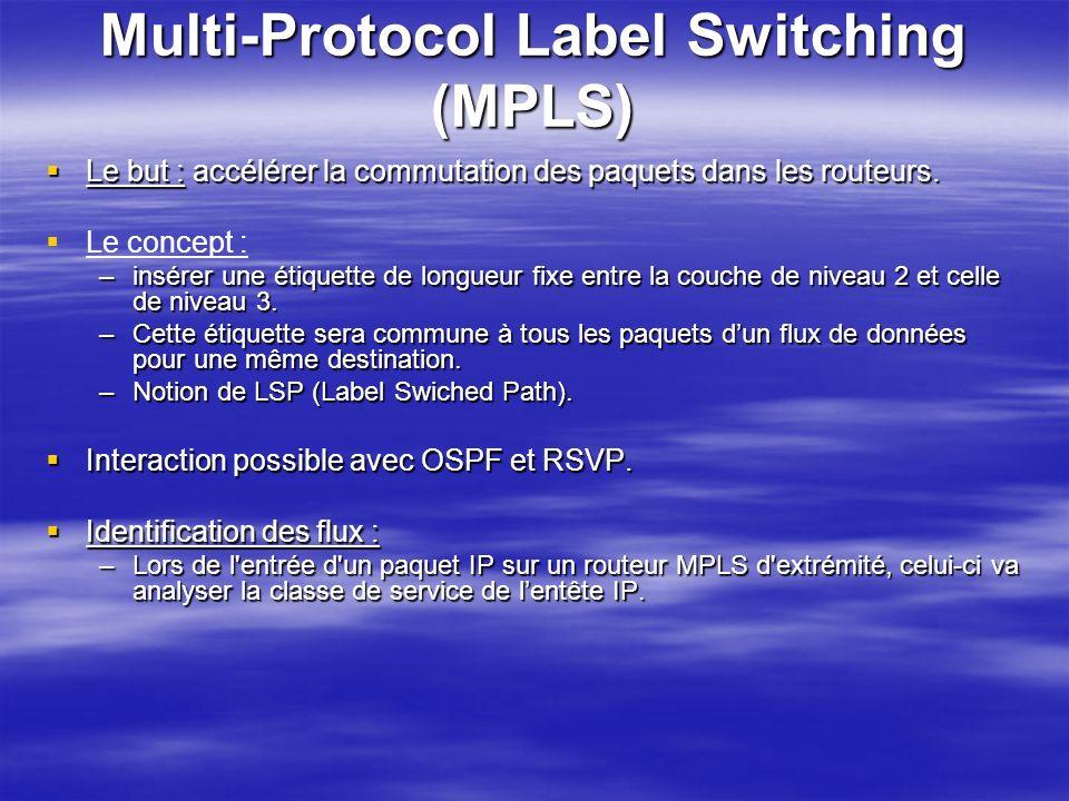Multi-Protocol Label Switching (MPLS) Le but : accélérer la commutation des paquets dans les routeurs. Le but : accélérer la commutation des paquets d