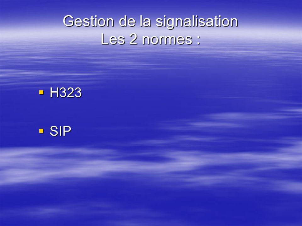 Gestion de la signalisation Les 2 normes : H323 H323 SIP SIP