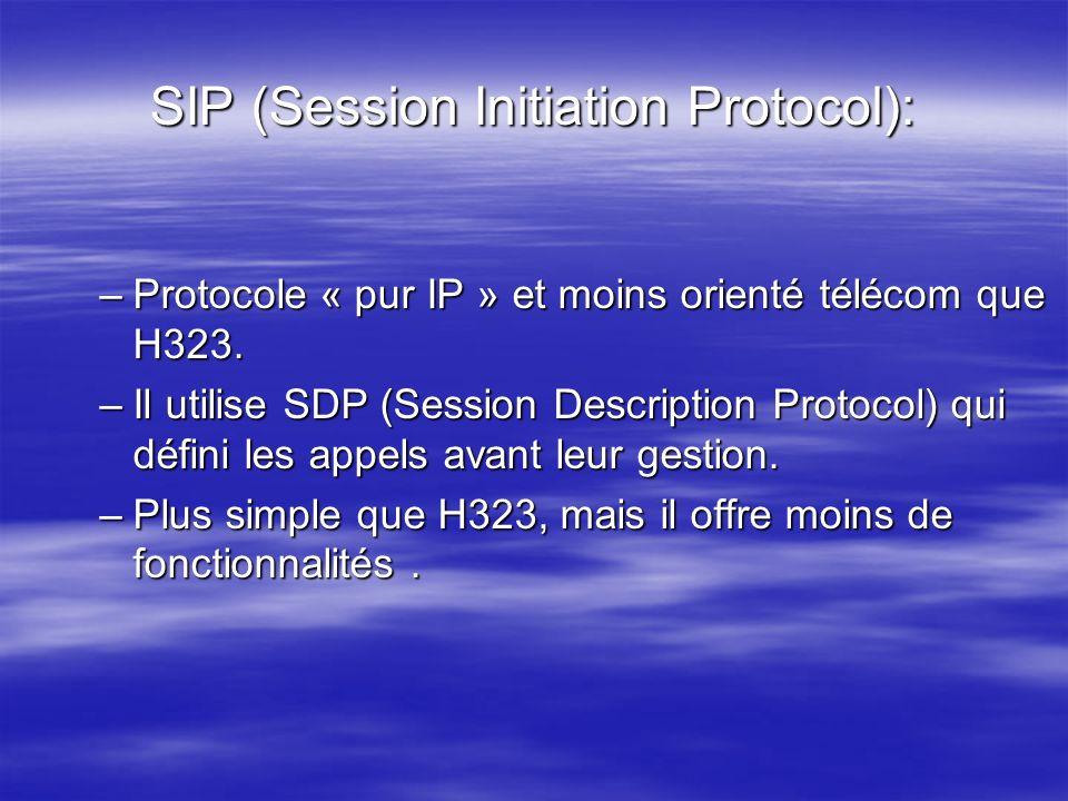 SIP (Session Initiation Protocol): –Protocole « pur IP » et moins orienté télécom que H323. –Il utilise SDP (Session Description Protocol) qui défini